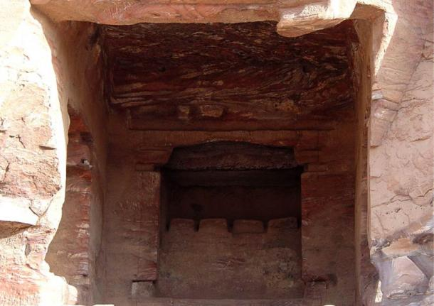 "This niche in the vicinity of the Urn tomb contains a row of four baetyls (""god blocks"") for worship, Petra, Jordan"