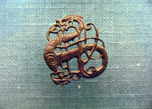 Urnes style brooch in bronze; a silver version was found at Lindholm Høje.