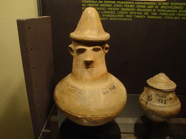 Urns with facial decoration dated 500-150 BC (Pomeranian culture) in Father Dr. Władysław Łęga Museum in Grudziądz, Poland.