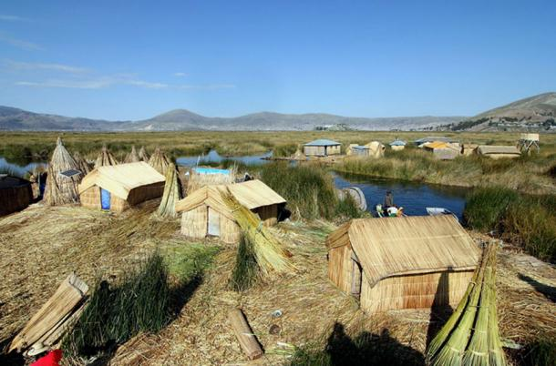 Figure 3. Uros island made of reeds near Lake Titicaca.