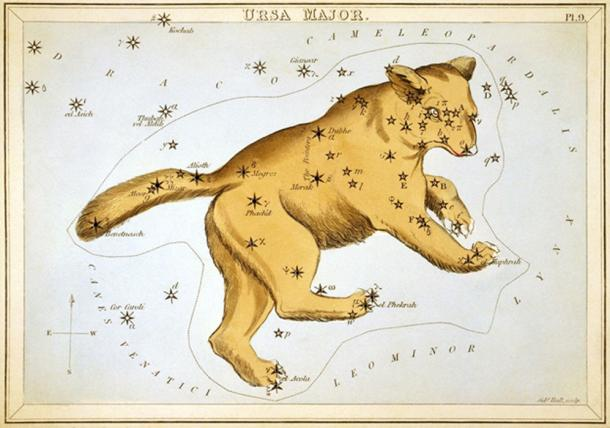 Depiction of Ursa Major. Circa 1825. The seven stars of the constellations were the Saptarshi Mandal in Hindu astronomy.