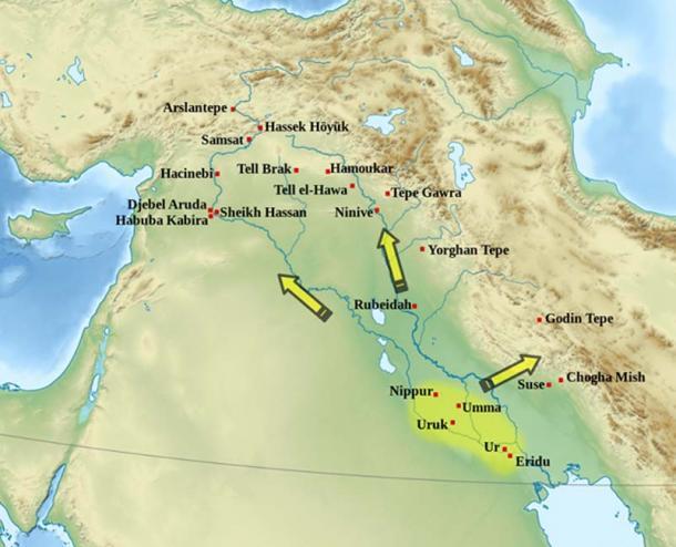 Uruk cultural expansion c. 3600-3200 BC