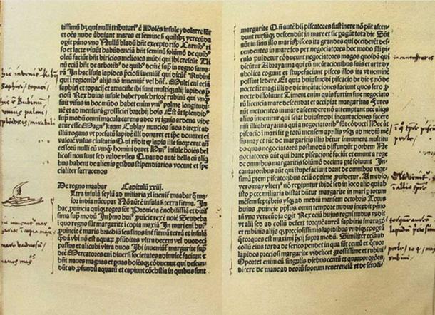 Use of the virgule (slash) is seen here in Columbus' handwritten margin notes.