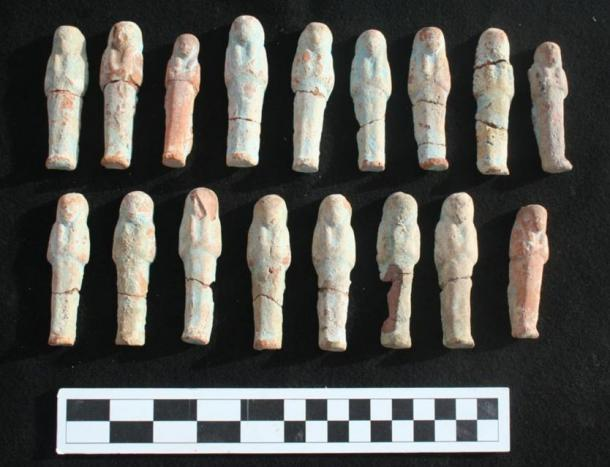 Ushebti clay figurines discovered in the shaft, Luxor, Egypt