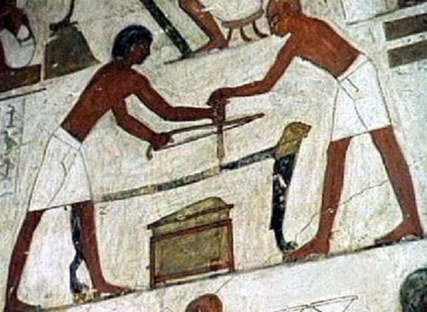 Using common tools to work stone in ancient Egypt.