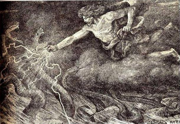 Vahagn the Dragon slayer engraving by Austrian artist J. Rotter.