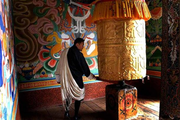 Vajrayana Prayer wheels have tantric mantras engraved on the surface.
