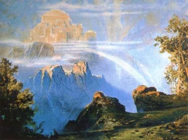 """""""Valhalla"""" (1896) by Max Brückner."""