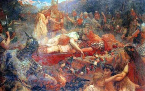 When the Valkyrie learned of her beloved's death she threw herself on the funeral pyre.