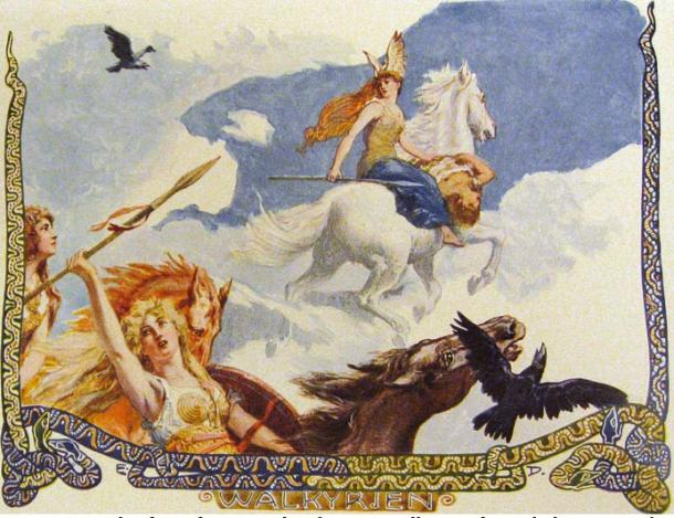 In the air, among clouds, and upon a white horse, a Valkyrie rides with the corpse of a man.