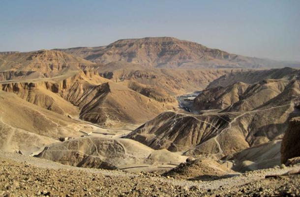 An overview of the 'Valley of the Kings' as seen from the ancient workmen's pathways. Known as Ta-sekhet-ma'at or the Great Field, beginning in the Eighteenth Dynasty, this place served as the Royal Necropolis for 500 years. (Photo: Francisco Anzola)
