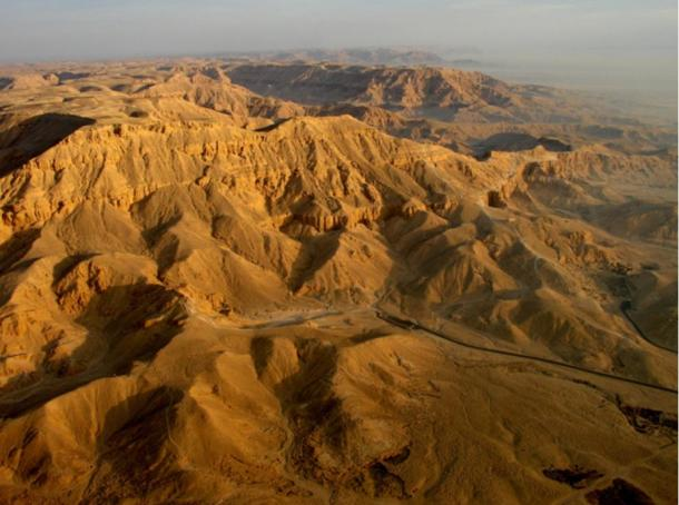 The Valley of the Queens near Luxor, Egypt, as seen from a balloon flight
