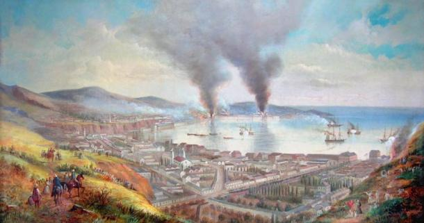 """William Gibbons """"Valparaíso Chile during the bombardment by the admiral Méndez Núñez"""""""