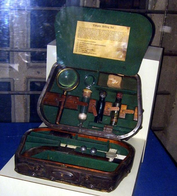 A 'Vampire Killing kit', equipped with items thought to ward off or defeat supernatural creatures, such as silver bullets and an ivory crucifix.