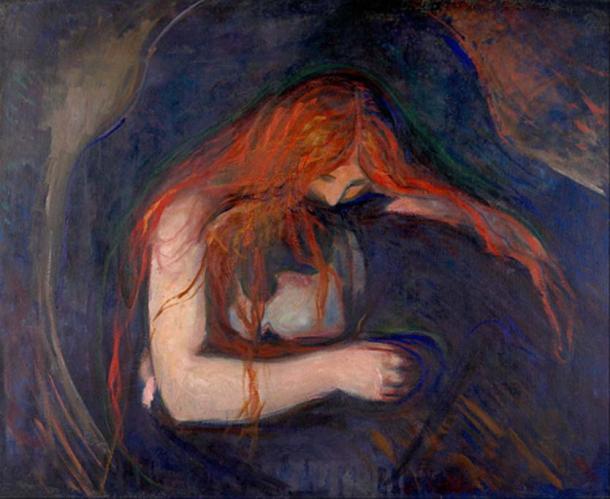 'Vampire' (1895) by Edvard Munch. (Public Domain)