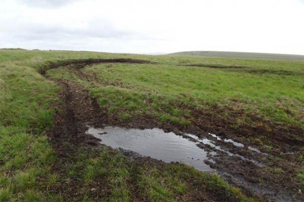 Vandalism caused by off-road scrambler bikes in the area of the Torclawdd ringwork. (Gareth Richards)