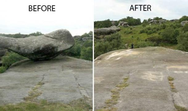 Vandals toppled over one of the balancing rocks, which had been shaped over millions of years.