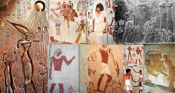 Various depictions of giants in Egyptian art collected by Muhammad Abdo. Courtesy Muhammad Abdo.
