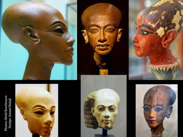 Various portraits of Amarna royalty in different materials display elongated heads and large skulls. Research, especially after the discovery of Tutankhamun's mummy, has revealed that this style was grossly exaggerated. (Photo center, top row: Dmitry Denisenkov CC BY-SA 2.0)