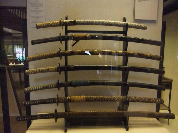 Various samurai swords. Photo taken at the Victoria & Albert Museum, London.