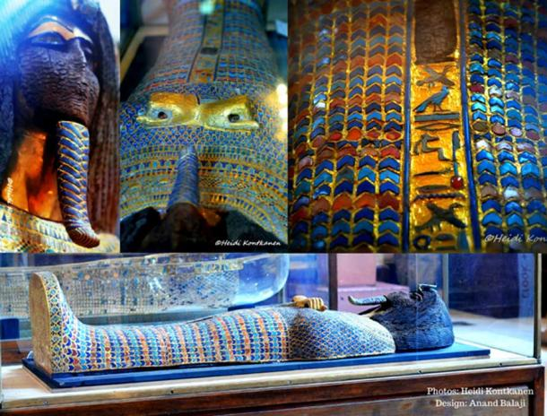 Various views of the splendid KV55 coffin with the cartouche naming the owner excised and the sheet gold face torn away. Its rishi-style is mirrored by the second anthropoid coffin of Tutankhamun. Egyptian Museum, Cairo.