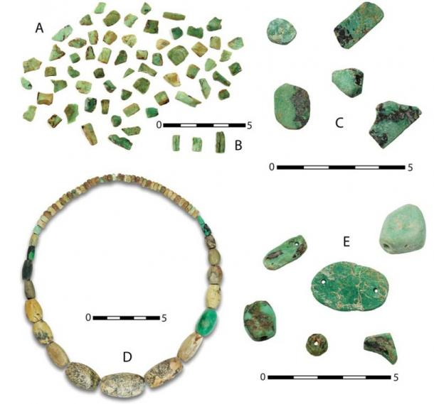 Variscite objects in a burial chamber at the prehistoric mines of Gava, Spain.