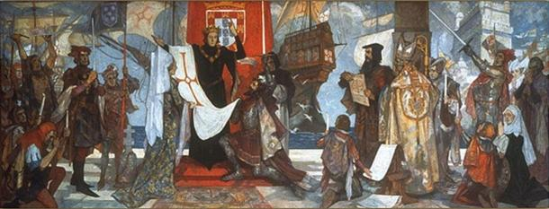 Vasco da Gama Leaving Portugal, mural by John Henry Amshewitz, RBA (c. 1936).
