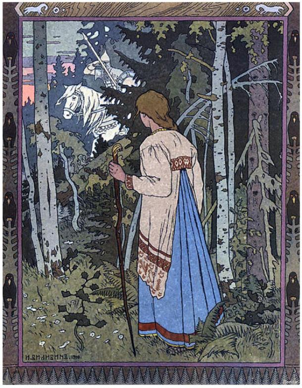 In the fairy tale, Vasilisa must travel through the forest to reach Baba Yaga's hut.
