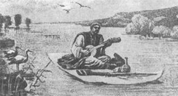 Vasyl Kornienko (1867 - 1904) The sorcerer floats on a carpet on the water. (Public Domain)
