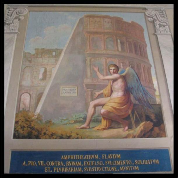 atican mural of Pope Pius VII's buttress, supporting the ruins of the Flavian Amphitheater, as the Romans called the Colosseum.