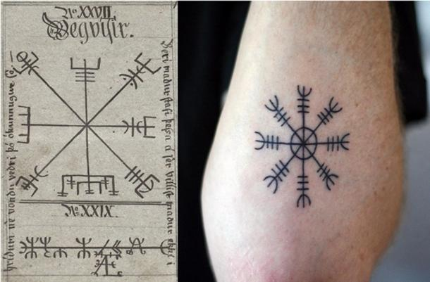 Left: 1860 depiction of two Vegvisir symbols with title and description of use in Icelandic (Public Domain) Right: Ægishjálmur symbol tattoo.