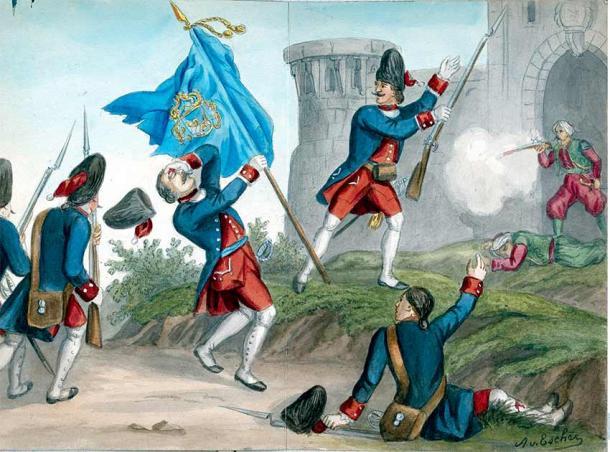 Venetian grenadiers of the Müller Regiment attack an Ottoman fort, 1717. (A. von Escher / Public domain)