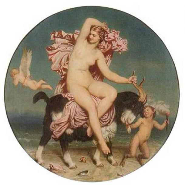 Venus Pandemos: A nude Venus riding a goat in a seaside setting.