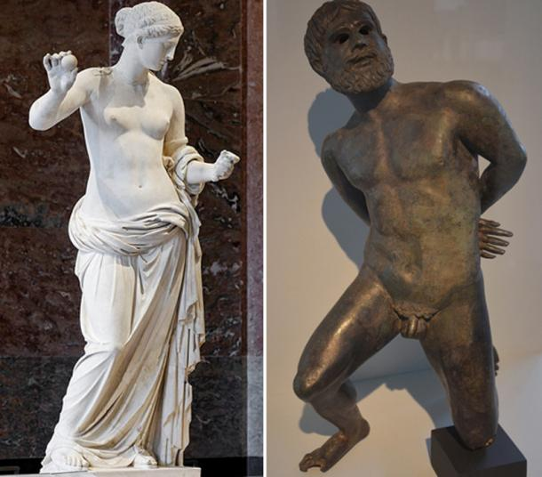 Left: Venus of Arles statue in the Louvre Museum (CC by SA 2.5). Right: Bronze statuette of a captive Gaul awaiting his death sentence, last quarter of 1st century BC, found during excavations in the Rhone River, Musée de l'Arles antique, Arles, France (CC by SA 2.5)