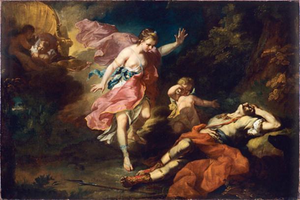 Vénus pleurant la mort d'Adonis (Venus mourning the death of Adonis) (1753) by Jean-Faur Courrège.
