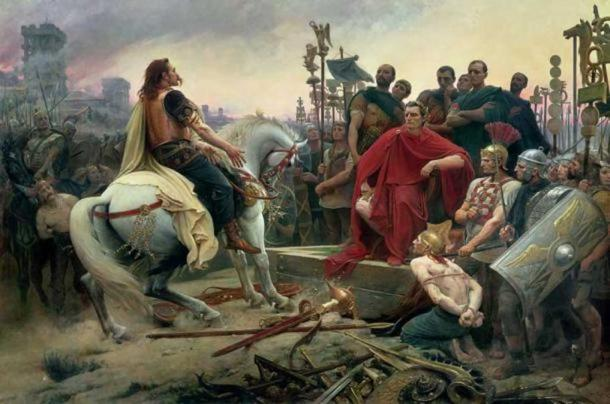 """Vercingetorix Throws Down His Arms at the Feet of Julius Caesar"", 1899, by Lionel Noel Royer."