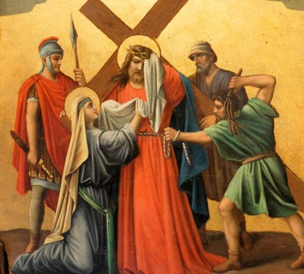 Veronica wiping the face of Jesus, Saint Symphorian church of Pfettisheim, Bas-Rhin, France.