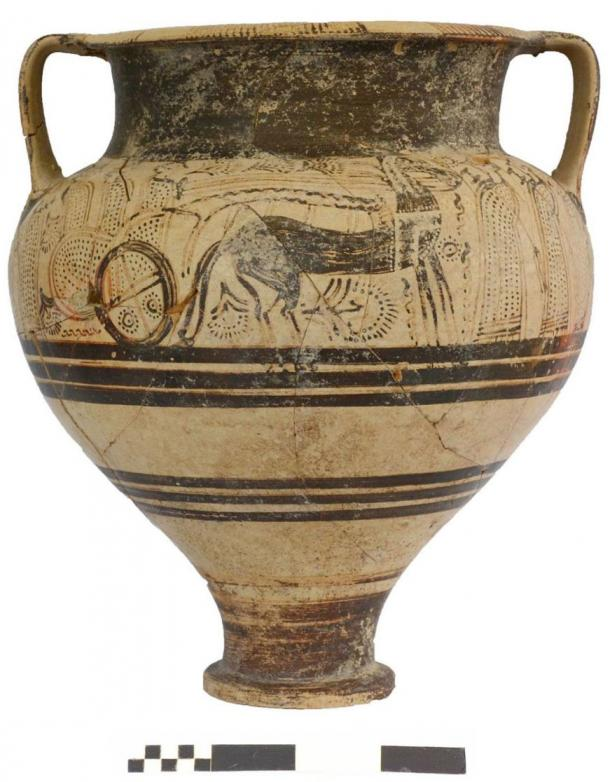 Vessel decorated with war chariots and armed men from Greece