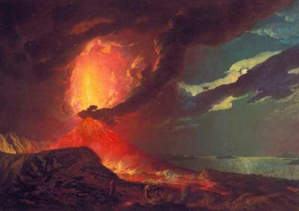 Vesuvius in Eruption, with a View over the Islands in the Bay of Naples, Joseph Wright of Derby, 1776.