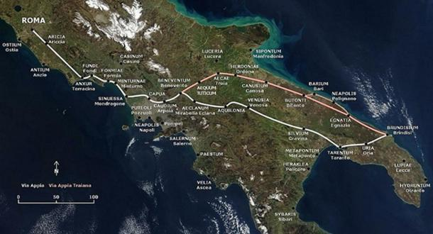 The path of the Via Appia and of the Via Appia Traiana.