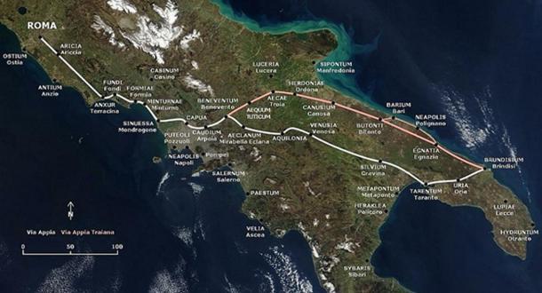 The path of the Via Appia and of the Via Appia Traiana.