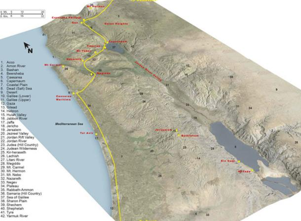 The famous Via Maris road running between the empires of the Fertile Crescent to the north and east and Egypt to the south and west