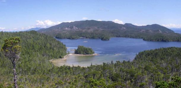View across the beach with Calvert Island in the foreground and Hecate Island in the background.
