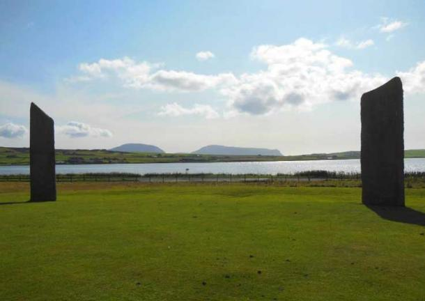 View from the Stones of Stenness (pictured) across to Ward Hill and Cuilags on the neighboring island of Hoy (Image: © Andrew Collins). This becomes the setting for a remarkable double setting sun phenomenon every winter solstice that would have been visible from the nearby Ness of Brodgar.