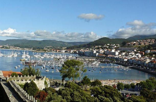View of Baiona port from the castle.