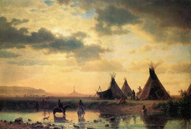 'View of Chimney Rock, Ogalillalh Sioux Village in Foreground' by Albert Bierstadt; 1860.