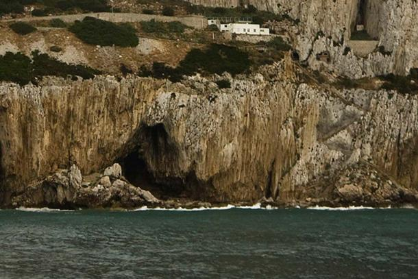 View of Gorham's Cave, a sea cave in the east face of the Rock of Gibraltar, Gibraltar. (Gibmetal77/CC BY 3.0)