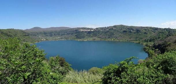 View of Lake Nemi from the Sacred Way.