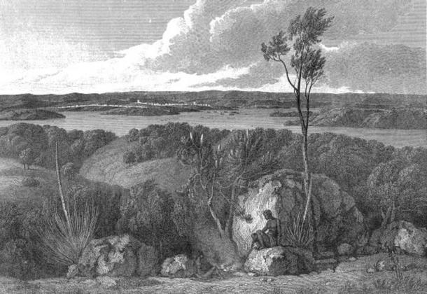 View of Port Jackson taken from South from 'A Voyage to Terra Australis'. (Public Domain)