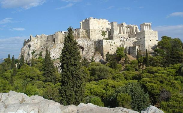 View of the Acropolis from the Areopagus, 2010.